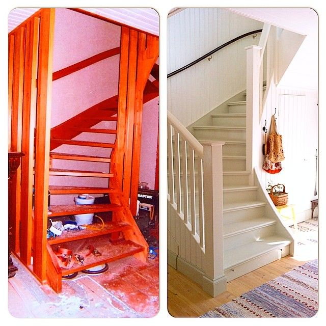 Före/efter på trappen. Första bilden är tagen i det värsta renoveringskaoset då vi just tagit över huset men inte flyttat in ännu. Den första trappen är borta sedan länge så det vi hade att jobba med var en lackad furutrapp med brun nålfiltsmatta och spaljé från 1971. Det var ju inget funktionellt fel på den och den var av god kvalitet. Dessutom extra bred och kändes därför lite pampig. Så vi rev bort mattan, byggde igen trappen, satte nya trappnosar på stegen, tog bort spaljeerna och…