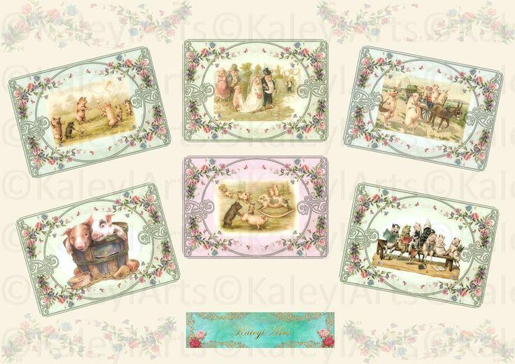 Happy Pigs...printable Download VINTAGE Schweinchen Digital Collage Sheet Geschenkanhänger Scrapbooking Decoupage Papier Bilder  Grußkarten von KaleylArts auf Etsy