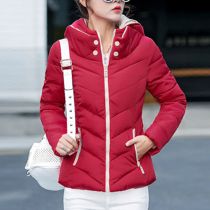 Women Simple Wild Hooded Warm Large Size Down Jacket