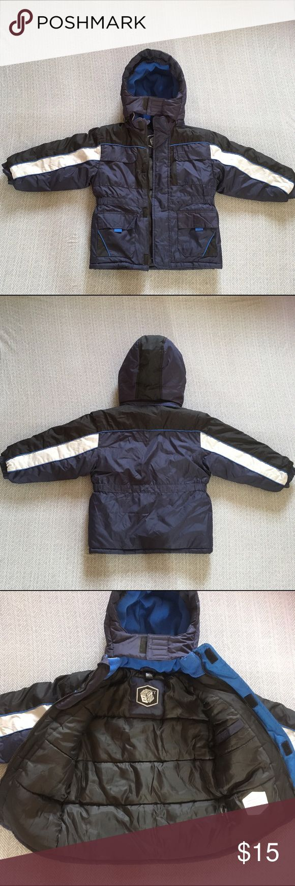 Boys blue winter jacket Navy boys winter jacket has five pockets. Zipper still works will go up and down but is broken ( missing the pulling part) see picture above. Jackets & Coats