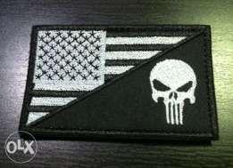 Emblema militar Bandeira Americana / Punisher - Velcro (Novo)