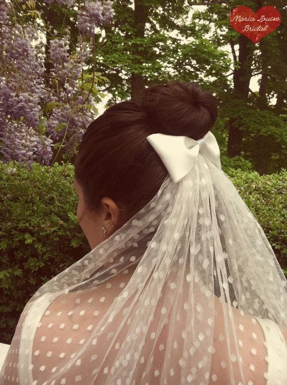 Ivory Polka Dot Wedding Veil with Satin Bow on Etsy, $63.87 AUD.                             I love the bow...minus the polka dots