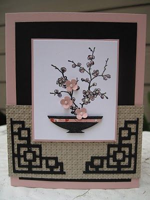 handmade card ... Asian theme ... Easter Bloosom Ikebana by LyndaLee28  ... lur the little punched buds on the stamped arrangement and the die cut corners of the card ...