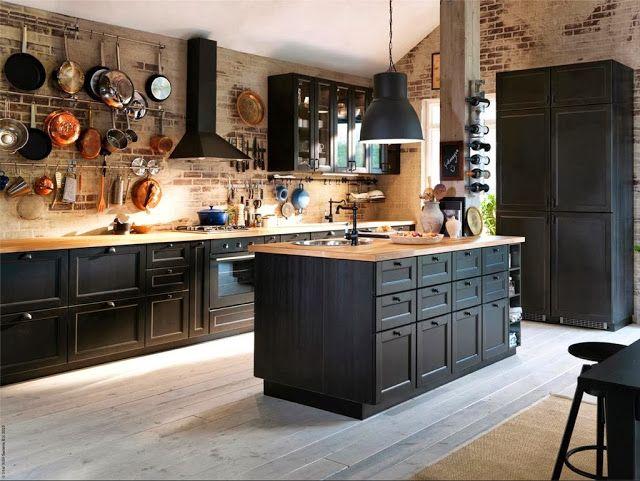 warm modern kitchen, exposed brick