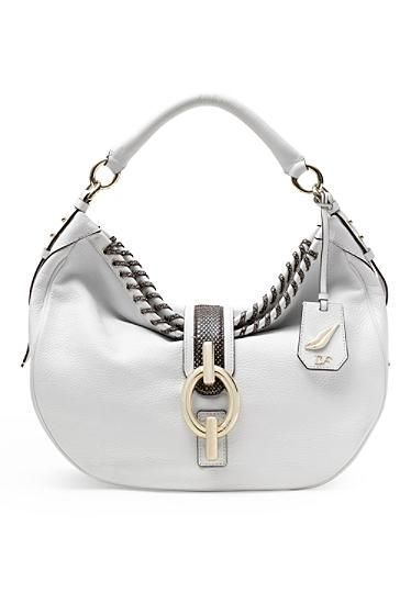 Sutra Laced Leather Hobo Bag In White/ Black Snake