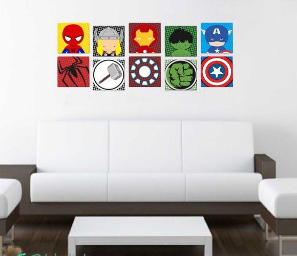 10 Quadros Decorativos Baby - Heróis
