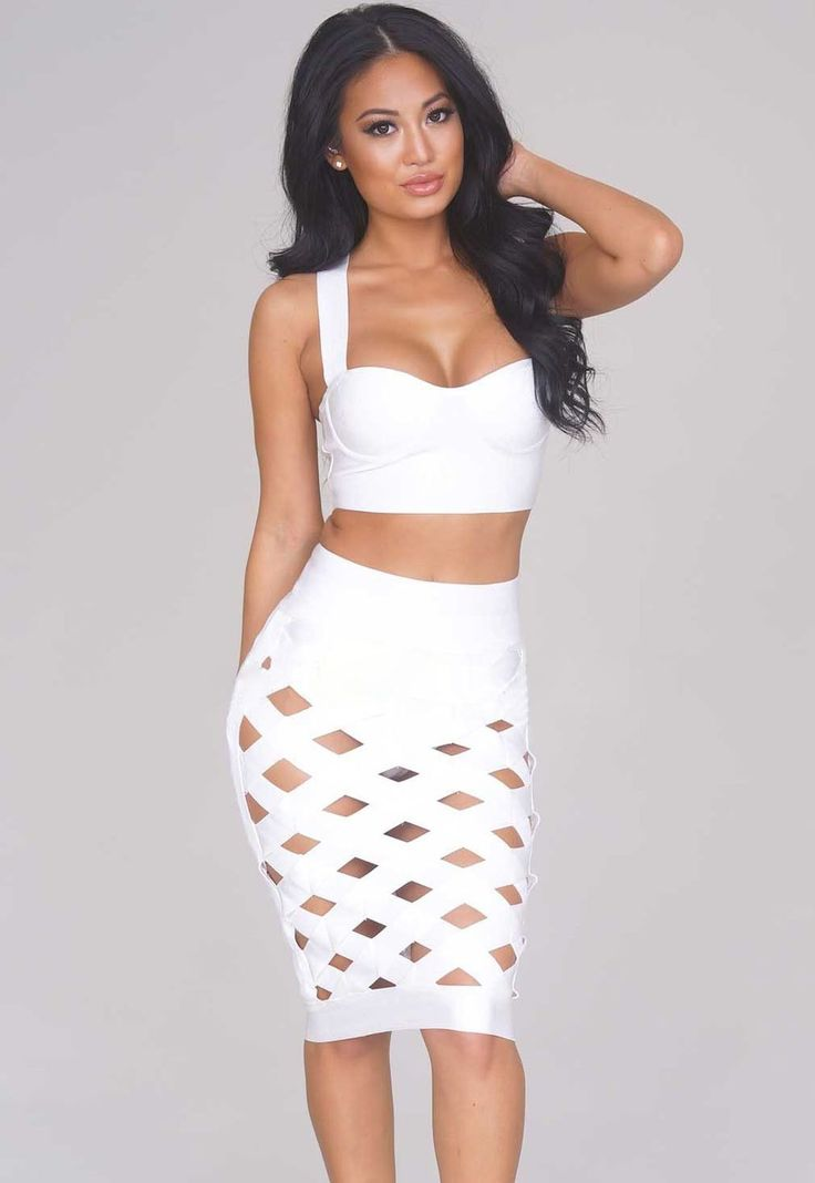 Bandage Robes Sexy Blanc Ouvrir Caged Jupe Set Pas Cher www.modebuy.com @Modebuy #Modebuy #Blanc #style #robes