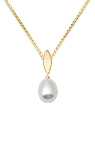 Miore MA988CHN Halskette mit Anhänger Gelbgold 9Karat (375) Süßwasserperle Weiß 45,5cm - http://schmuckhaus.online/miore/miore-ma988chn-halskette-mit-anhaenger-gelbgold