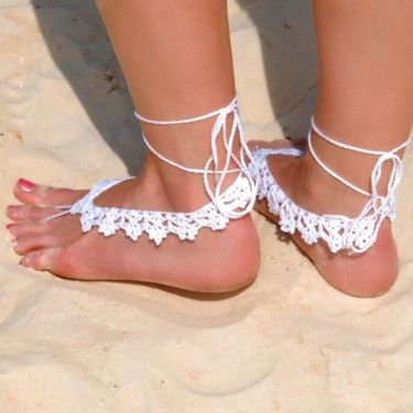 Crochet Barefoot Sandals | Crochet Barefoot Sandal - White