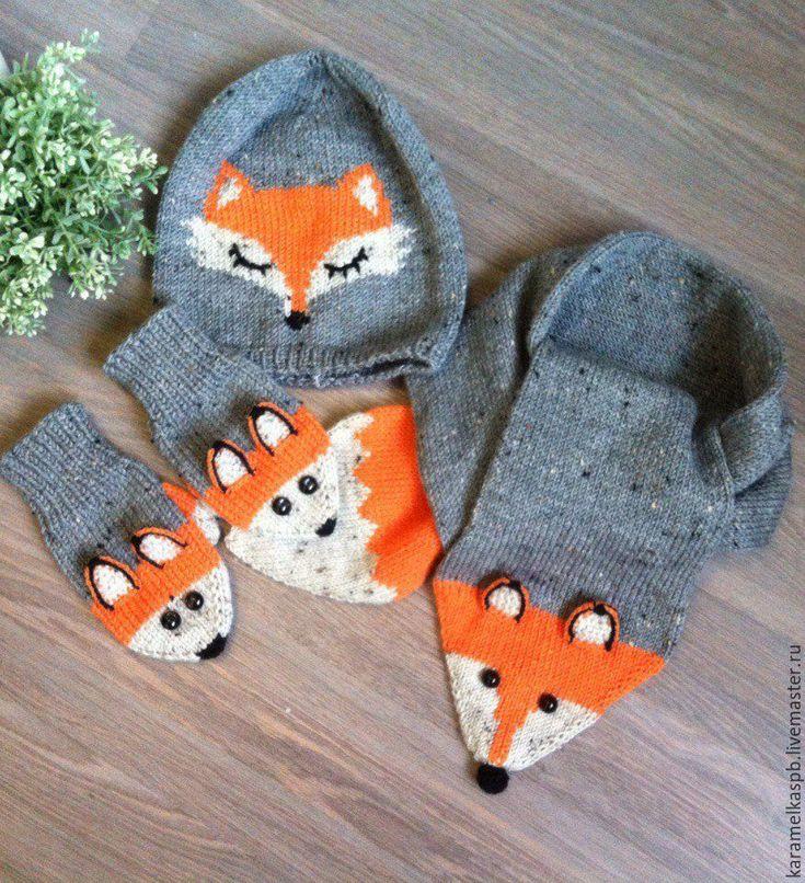 Купить Шапка, шарф и варежки. Лисичка - комбинированный, комплект для девочки, комплект детский