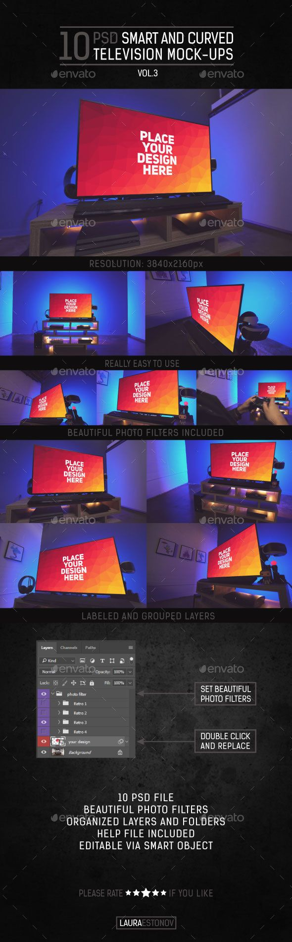 Smart and Curved Television Mock-ups