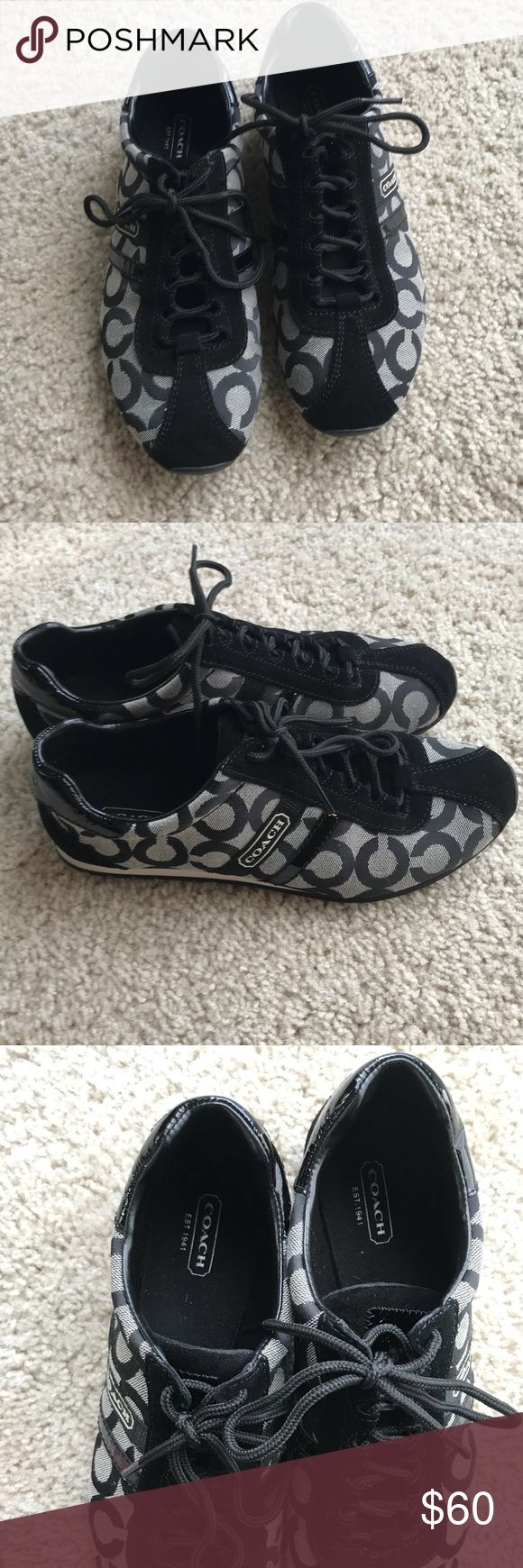 Coach tennis shoes in black Coach tennis shoes, worn once. Adorable with jeans and a blouse or dress up some leggings and a hoodie in these casual and comfy designer tennis shoes! Coach Shoes Athletic Shoes