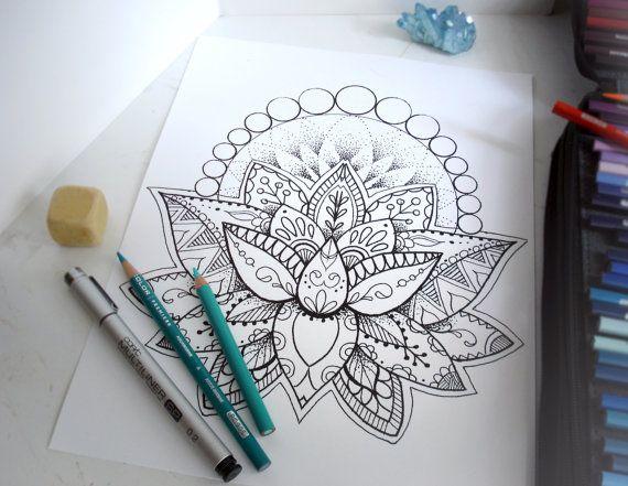 Lotus Flower Coloring Page Instant Download por RobinElizabethArt