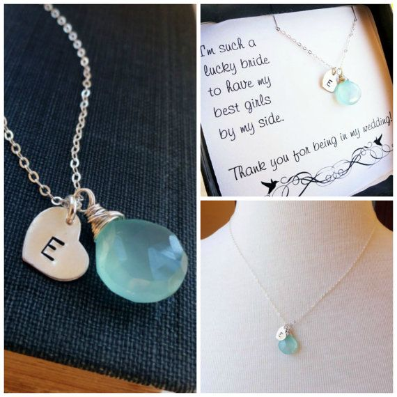 Bridesmaid gifts, Initial & birthstone necklace, Bridesmaid jewelry, Personalized BRIDESMAID GIFTS, aqua necklace, bridal jewelry