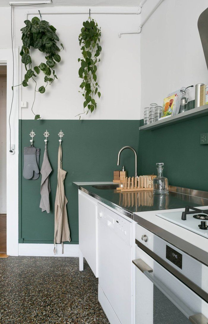 Kitchen Wall Decor Ideas Diy And Unique Wall Decoration With Images Gorgeous Apartment Green Painted Walls Half Painted Walls