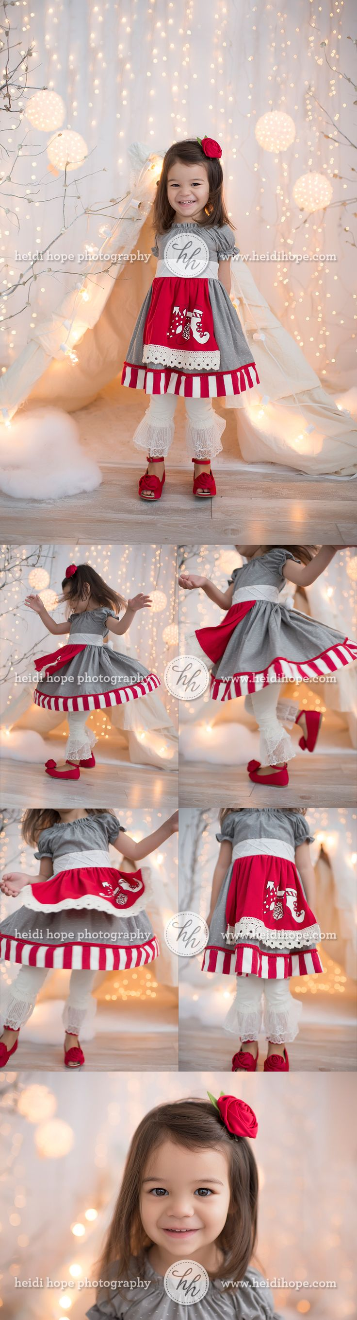 Gorgeous whimsical holiday studio christmas session set up with lace teepee tent and lights