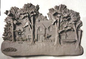 Ohio Residence (wet clay)...architectural clay relief artist Kathryn Wise