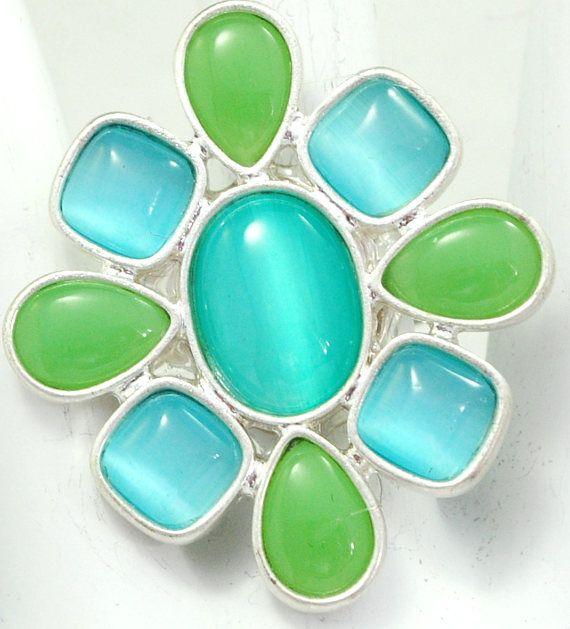 Fresh Summer Ring/Silver/Moonstone/Green/Aqua/Spring/Summer