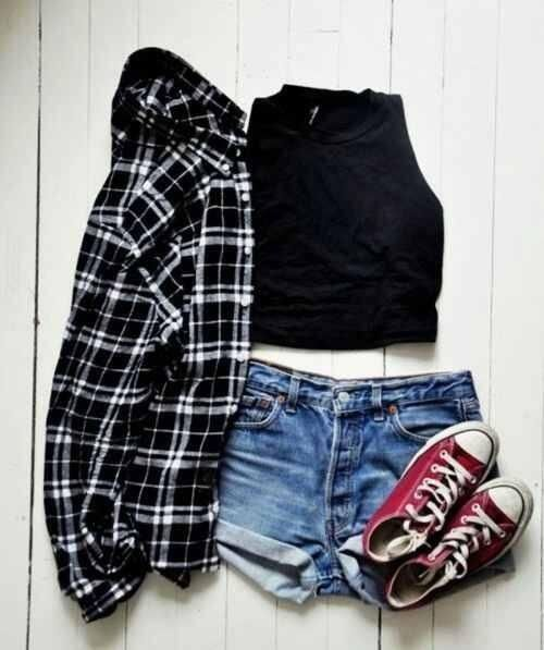 Flannel, crop top, and high top converse