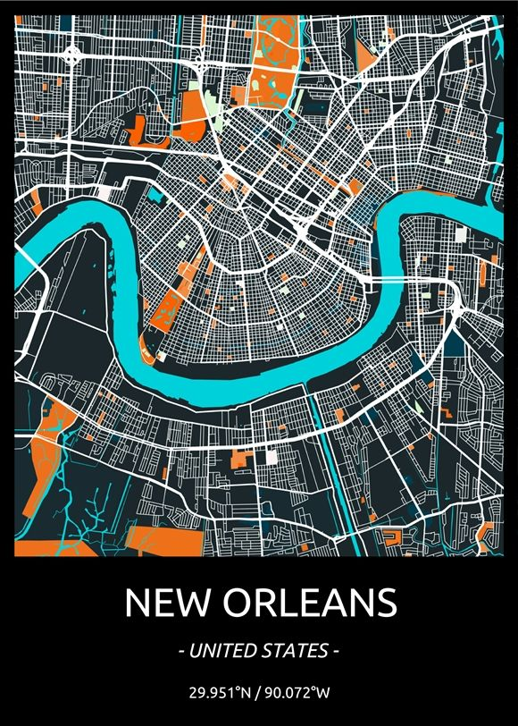 New Orleans Modern Art Design City Map On A Poster Perfect For