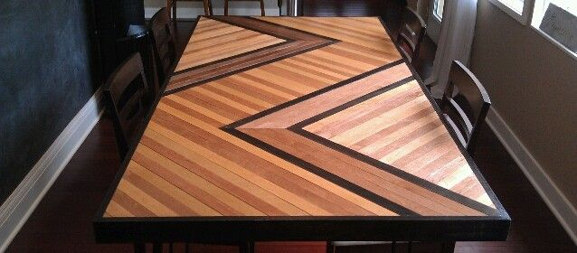 CHEVRON PATTERNED DINING TABLE TOP - Build your very own wood patterned table top! ~}<]: