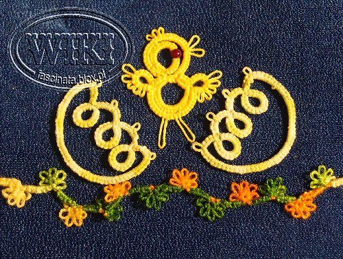 chickens and eggs  ... so cute. lovely series of tatting