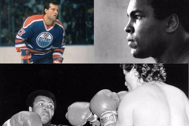 Edmonton Oilers tough guy Dave Semenko & Muhammad Ali in a 1983 charity boxing match.