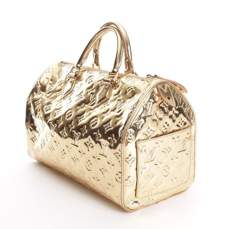 louis vuitton handtasche gold damen tasche speedy 35. Black Bedroom Furniture Sets. Home Design Ideas