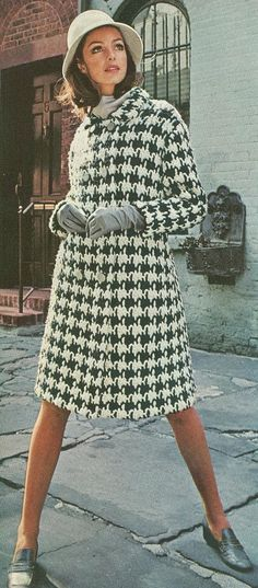Vintage 1960s Houndstooth Coat Crochet Pattern PDF 6801 Size Small Medium Large 60s