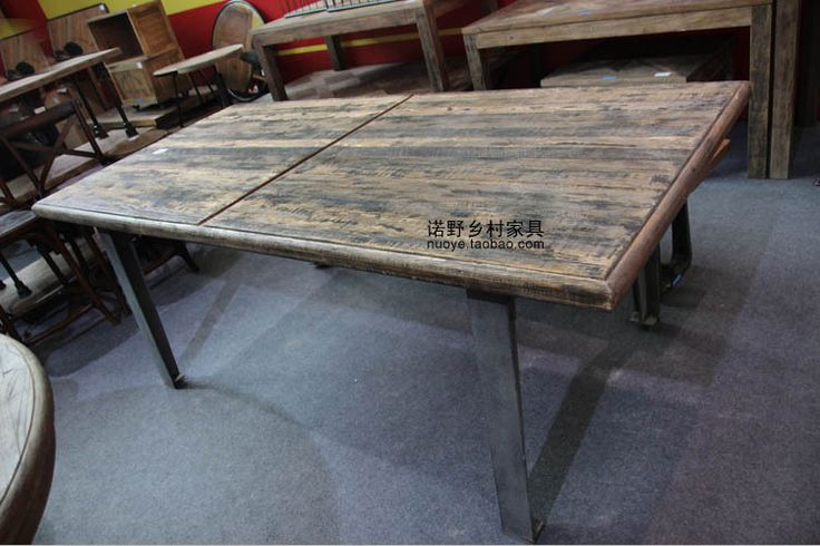 American country style dining table will table desk old wooden loft building rustic furniture House furniture