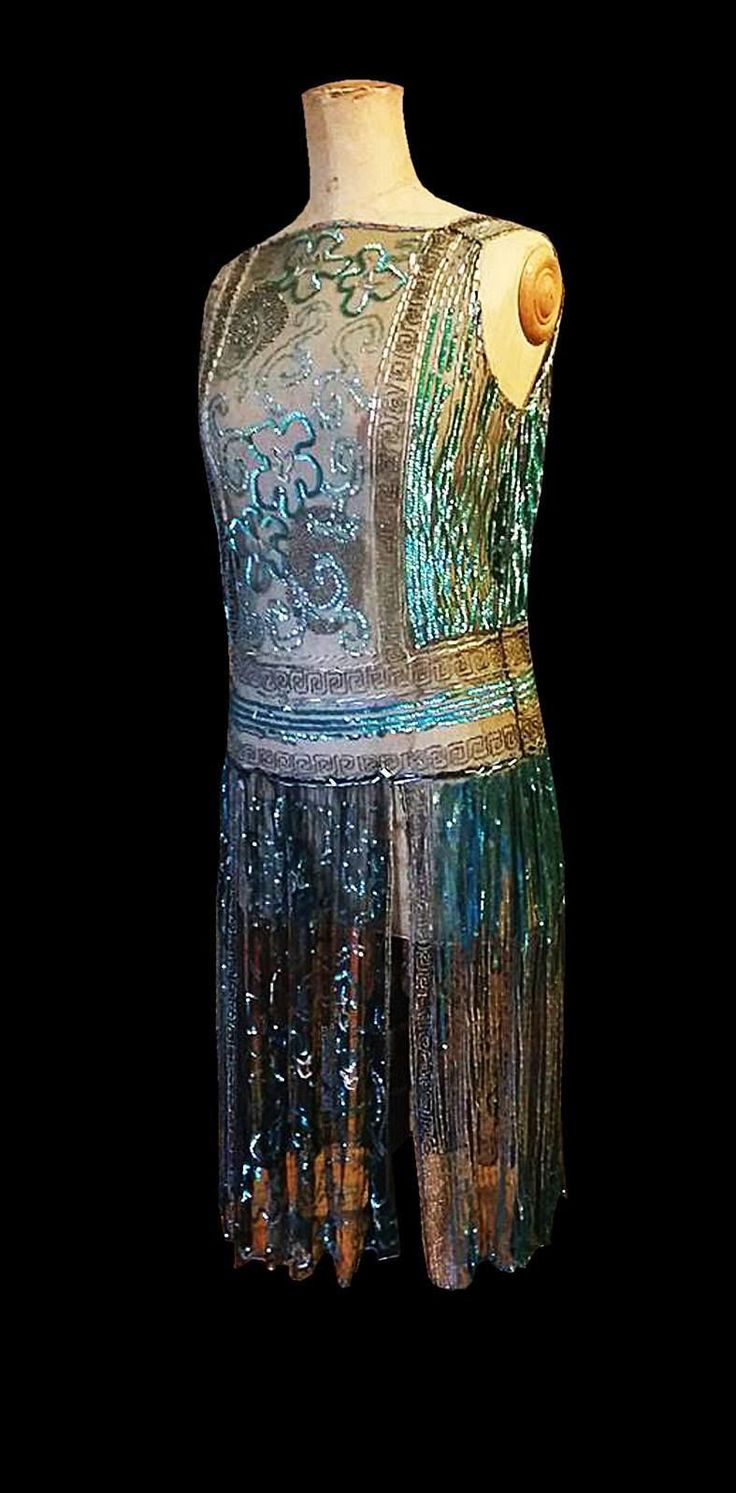 Breathtaking 1920s Museum Quality French Sparkling Net Eve Flapper Dance. Front sideway