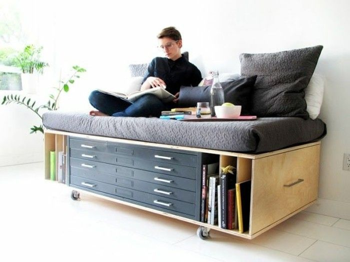 Les 25 meilleures id es de la cat gorie lit gain de place sur pinterest lit une place - Lit 2 places gain de place ...