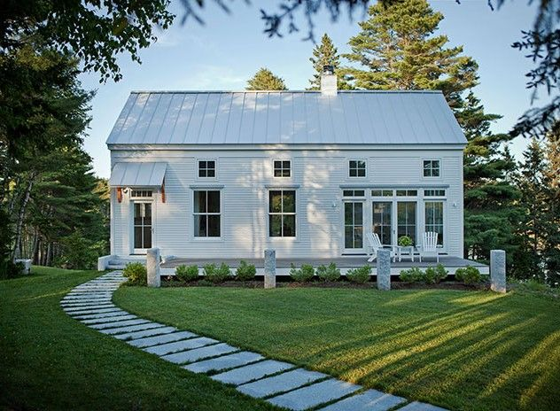 Really simple one story with tall front metal roof all white cove end house by g o logic - Simple farmhouse designs ...