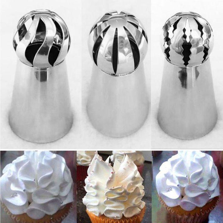 3 UNIDS Consejos Icing Piping Boquilla de Acero Inoxidable Forma de Esfera Rusa Lcing Piping Pasteles de Los Inyectores Consejos de Decoración