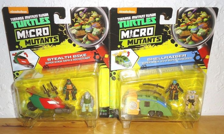 Lot of 2 Teenage Mutant Ninja Turtles MICRO MUTANTS STEALTH BIKE and SHELLRAISER #PlaymatesToys
