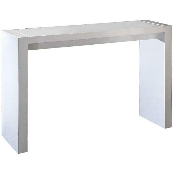 Velia High-Gloss White Contemporary Bar Table ($490) ❤ liked on Polyvore featuring home, furniture, tables, modern contemporary furniture, counter height rectangular table, modern classic furniture, contemporary pub table and contemporary furniture