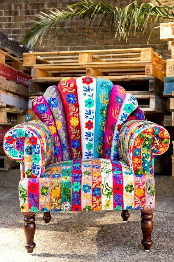 Beautiful and  colorful chair, with a touch of Bohemian.