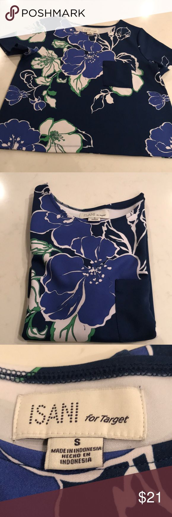 """Isani for Target top Isani for Target Women's Floral over sized boxy  slight a-line Scuba Top with single pocket and short sleeves. Chest-18.5 """" Bottom across 21"""" Length 21"""" All measurements are approximate isani for target Tops Tees - Short Sleeve"""