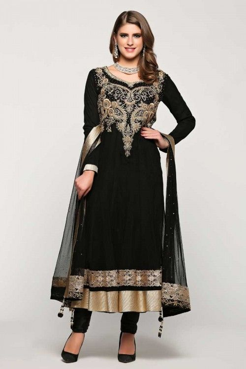 Diya boutique collection, Anarkali churidar net cheap indian suits, Black zari embroidered punjabi collection now in shop. Andaaz Fashion brings latest designer ethnic wear collection in UK  http://www.andaazfashion.co.uk/festival/eid-collection/black-net-anarkali-churidar-suit-with-dupatta-1765.html