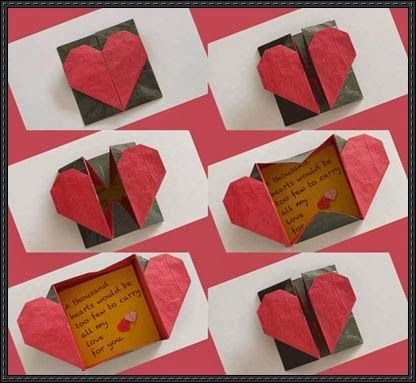 This is an origami Heart box. You can write a love note to give your girlfriend. Give your next love note or Valentine invitation some extra...