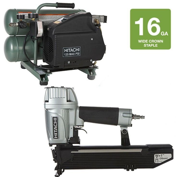 1 in. Wide Crown Stapler and 4 gal. Electric Compressor Kit (2-Piece)