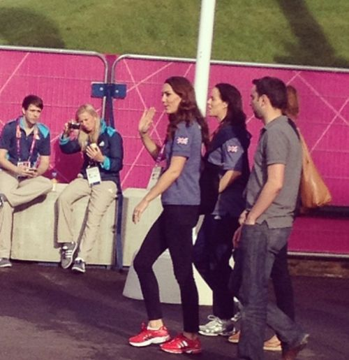 Kate was also spotted by others today, walking through Olympic Park. August 5, 2012