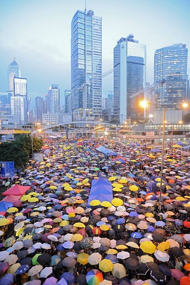 Umbrella Revolution Hong Kong, 28OCT2014, Protesters gather again at Umbrella Square, Admiralty one month after the Hong Kong police used tear gas to disperse protesters. (photo: Micros Yip)
