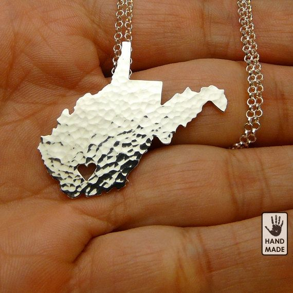 WEST VIRGINIA , fine silver FS .999 State Necklace ,sterling silver chain, custom heart via Etsy