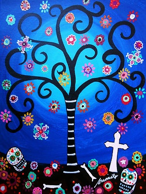 Mexican Day of the Dead PRISTINE Couple Painting Folk Art Flowers Tree PRISARTS