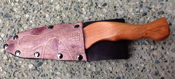 Yew Wax Play Knife & Leather Sheath, with Appaloosa Finish and Rope Motif www.alexanderspaddles.com