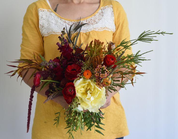 September Wedding, spring flowers, bridal bouquet, double tulip, ranunculus, pepper tree, snapdragon, deep reds, burgundy, cream