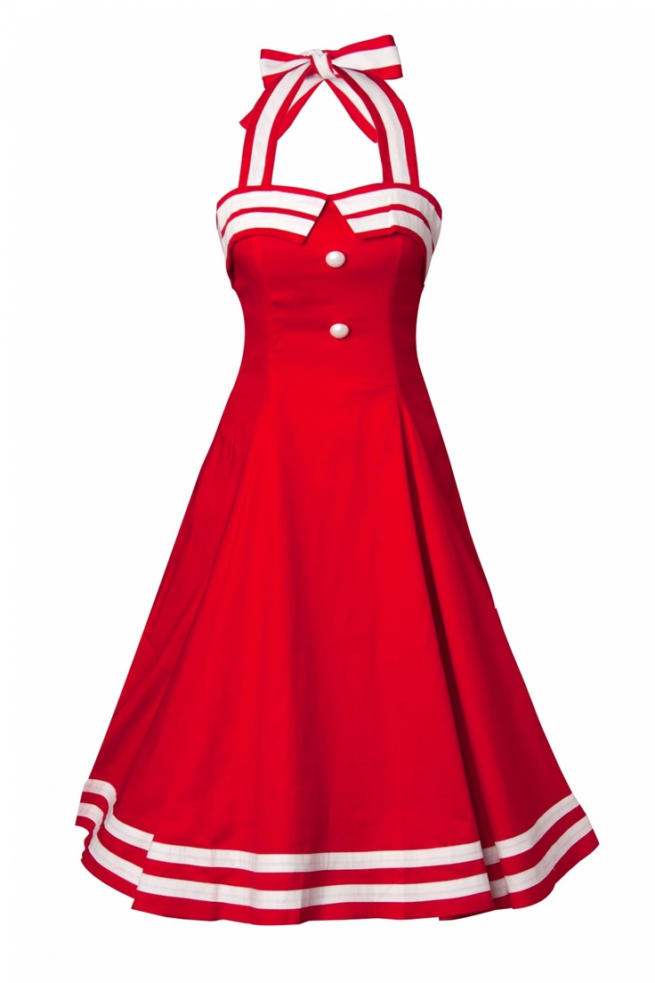 Collectif Clothing - COLLECTIF 50s Sindy Doll Sailor red swing dress
