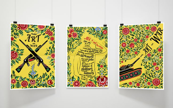 Make Art not War, social poster with Russian national Gorodets painting  Poster by Mariia Filonenko