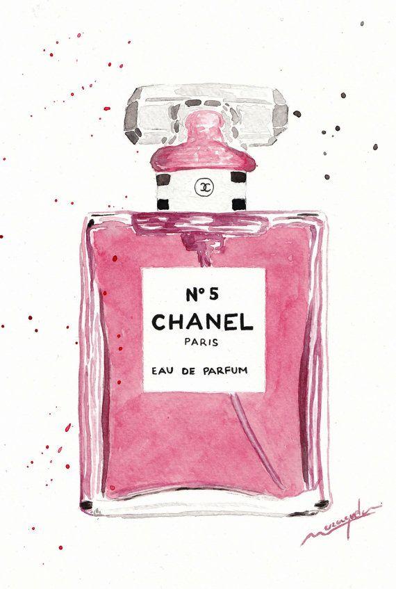 Chanel nº 5 Parfum bottle watercolor pink.Chanel n.5 by Maraquela